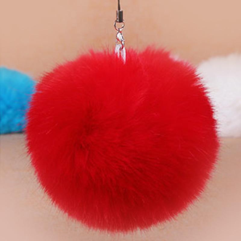 Fashion Faux Rabbit Fur Ball Pom Pom Keychain For Women Bag Car Charm Key Ring Trinket Female Wedding Jewelry Gift Souvenirs