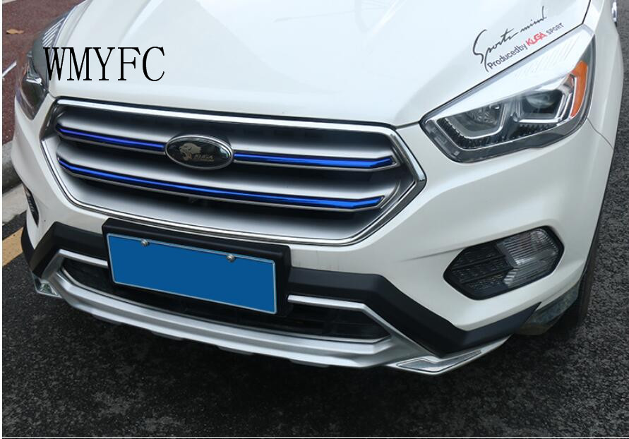 Stainless steel Front Center Grille Cover Trim Fit For Ford Escape Kuga 2017 2018 wmyfc Modified accessories