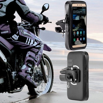 360 Rotating Waterproof Bag Motorcycle Phone Holder Stand Clip Mount Support For iPhoneX 8 7Plus 6 S9 S8 Plus Soporte Movil Moto