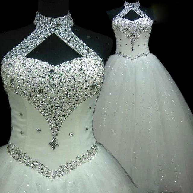 QQ Lover 2019 New Arrival Elegant Beaded Halter Ball Gown Wedding Dress Custom-made Bride Gown