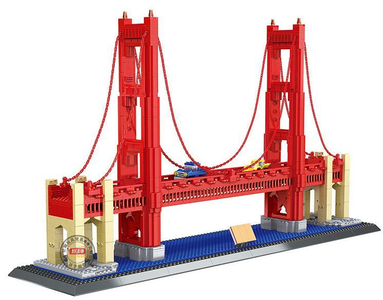 WANGE  NEW 6210 1977Pcs Street View Series Golden Gate Bridge Model Building Blocks set Bricks Children For Toys Gifts