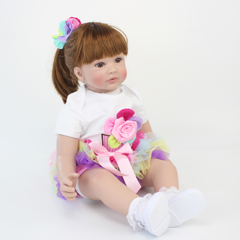 60cm Silicone Reborn Baby Doll Toys Like Real Vinyl Princess Toddler Babies Dolls Girls Bonecas Birthday Gift Present Play House 60cm silicone reborn baby doll toys for children 24inch vinyl toddler princess girls babies dolls kids birthday gift play house