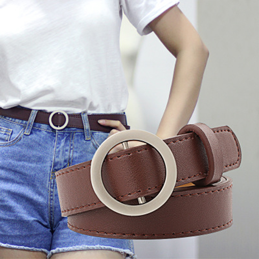 Gold Round Buckle <font><b>Belts</b></font> Female Casual Jean Silver Without Pin Metal Buckle Brown Faux Leather Black Strap <font><b>Belt</b></font> Women Accessories image