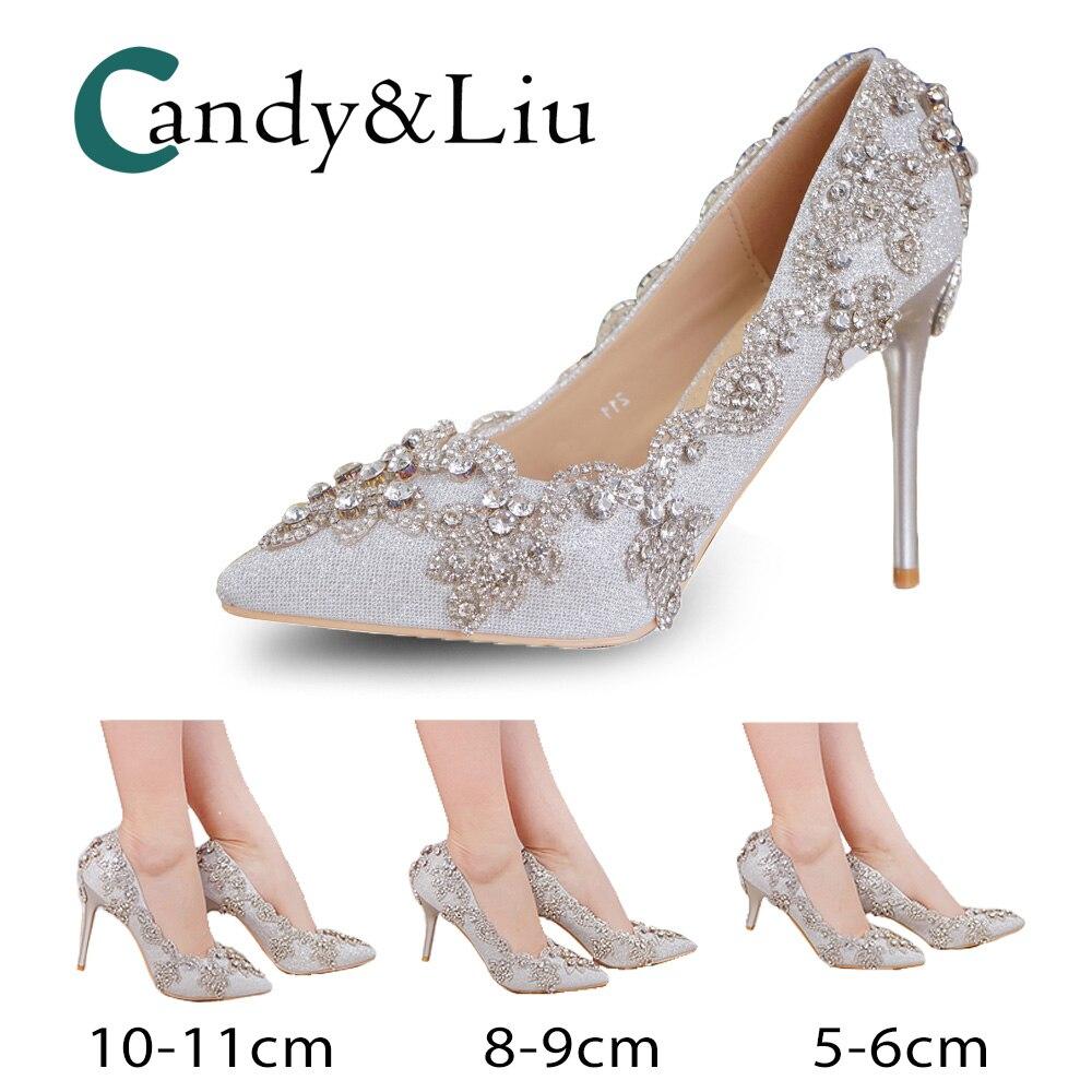 Cristal métal fleur pompes bout pointu talons hauts femmes chaussures strass mariée demoiselle d'honneur réception fête Banquet robe de soirée