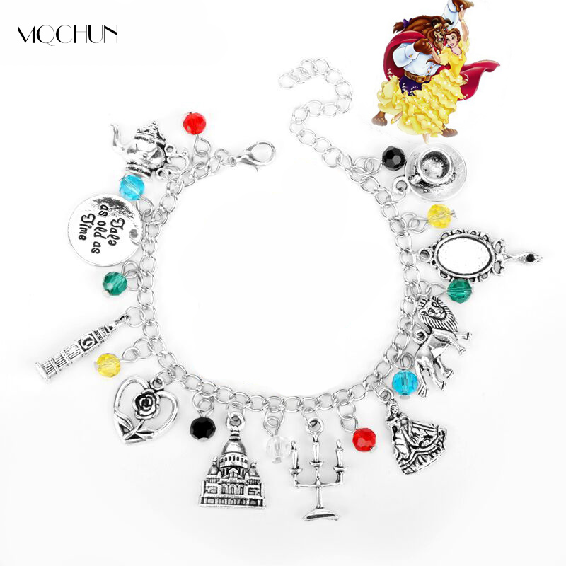 MQCHUN Beauty and the Beast charm bracelet Roses Mirror Castle Clock Lion Harpoon Accessories jewelry Women Christmas Party Gift