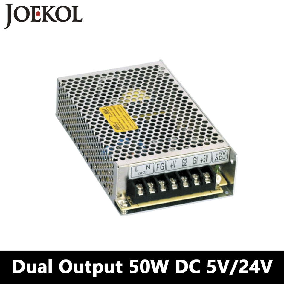 Switching Power Supply 50W 5V 24V,Dual Output Ac-dc Power Supply For Led Strip,voltage Converter 110v/220v To 5V/24V ms 50 24 24v 2 1a switching power supply 85 264v ac input 5v dc output 50w led driver