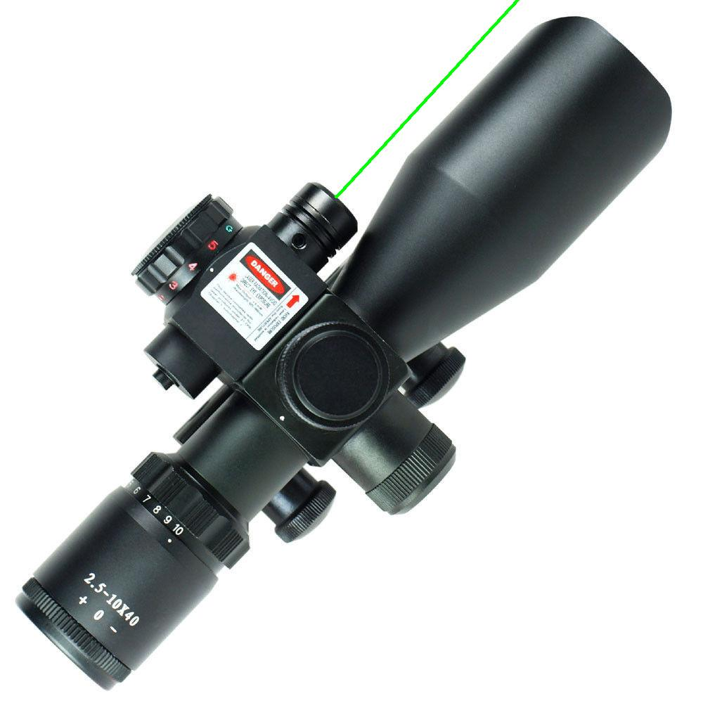 2.5-10x40 Tactical Hunting Rifle Scope Red/Green Laser Dual illuminated Mil-dot Rail Mount Airsoft Riflescope Telescopic Sight