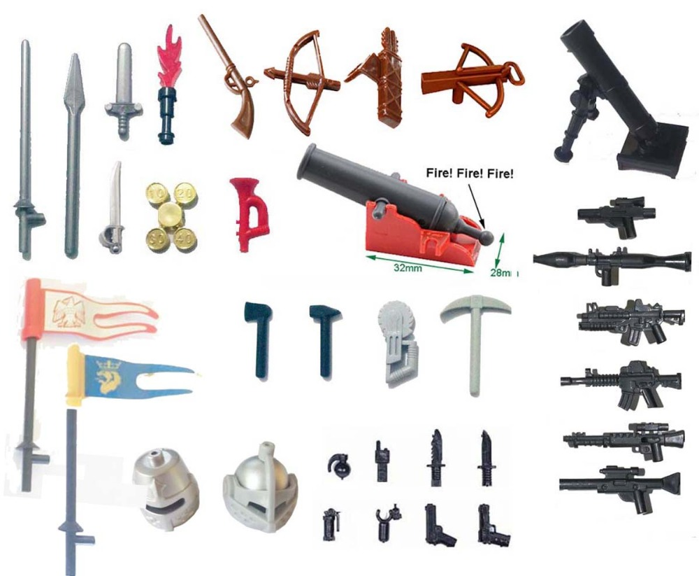 Weapon flag for clone trooper SWAT Police Castle Knight Shield spear crossbow Building Block figure castle and knight