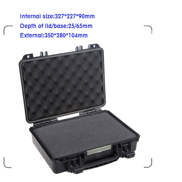 IP67 waterproof shockproof black compressive durable toolbox with full cubes foam inserts durable waterproof empty plastic toolbox without foam