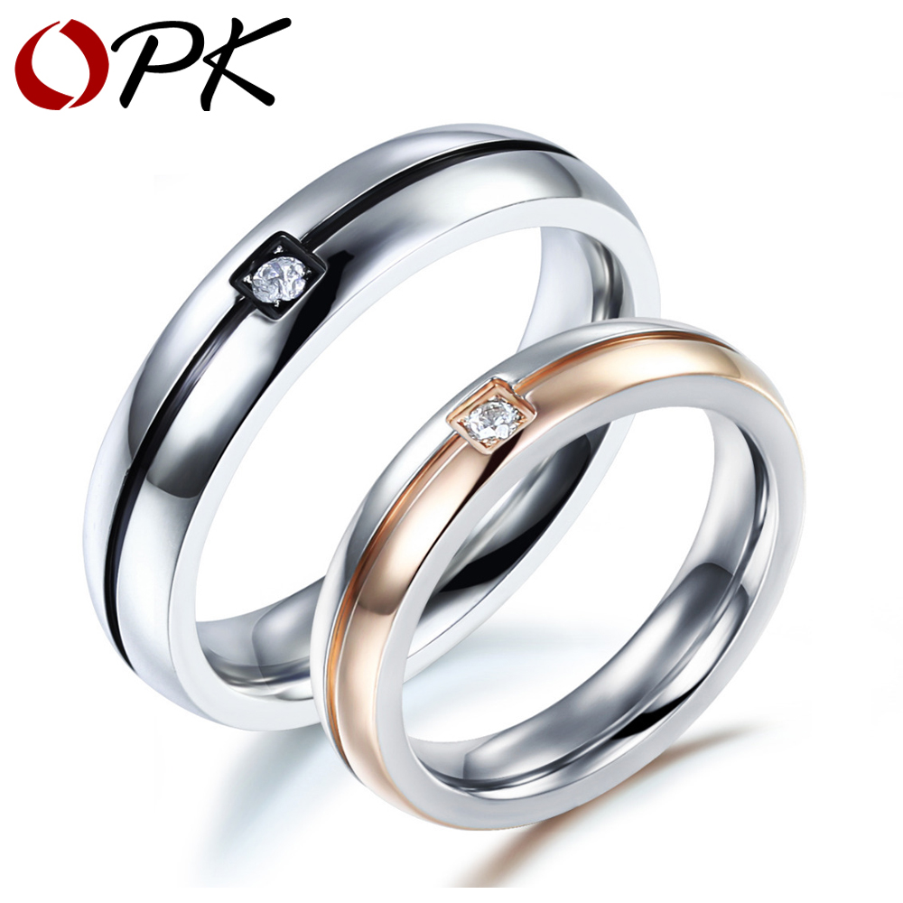 opk classical fashion lovers wedding rings simple design stainless steel crystal stone finger bands jewelry - Wedding Ring Designs