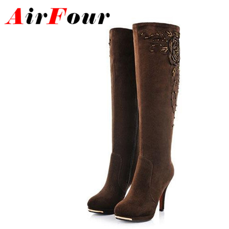 ФОТО Airfour New Fashion Sexy High Heels Knee High Boots Flock Womens Autumn Winter Shoes Woman Motorcycle Boots for Women