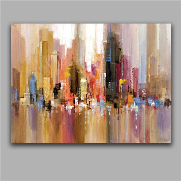modern abstract building oil paintings impression house oils artwork home decor wall picture art. Black Bedroom Furniture Sets. Home Design Ideas