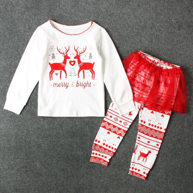 new kids baby girls christmas outfits clothes elk girls pants dress clothes set child toddler girl