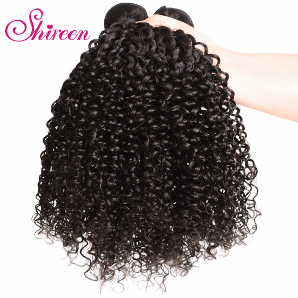 Shireen Hair Company Peruvian Hair Kinky Curly Weave Human Hair Bundles Natural Color Remy Hair 3 Piece 8-30 Free Shipping