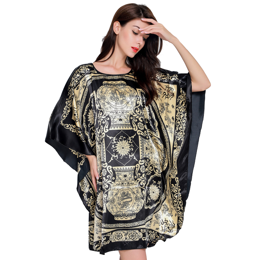 e95afec26d0 Hot Sale Black Female Satin Robe Dress Nightgown Novelty Women s Kaftan  Bath Gown Summer Lounge Homewear Plus Size 6XL NB053