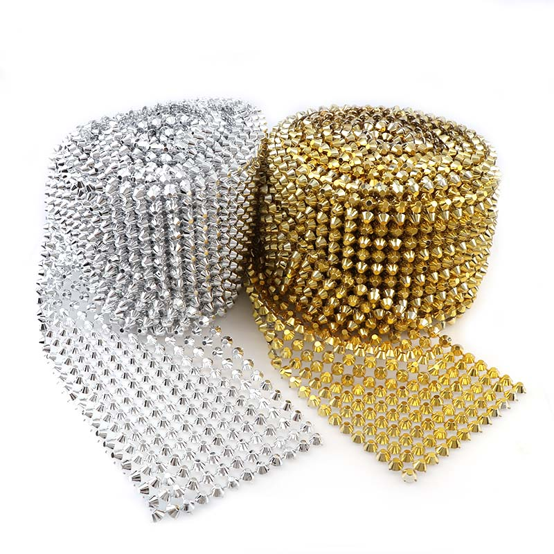 0.5 Yard 12 Rows 8mm Flatback Bullet Gold/Silver Punk Style Rivet Mesh Trim ABS Plastic Sew On For DIY Craft Jewelry Decoration
