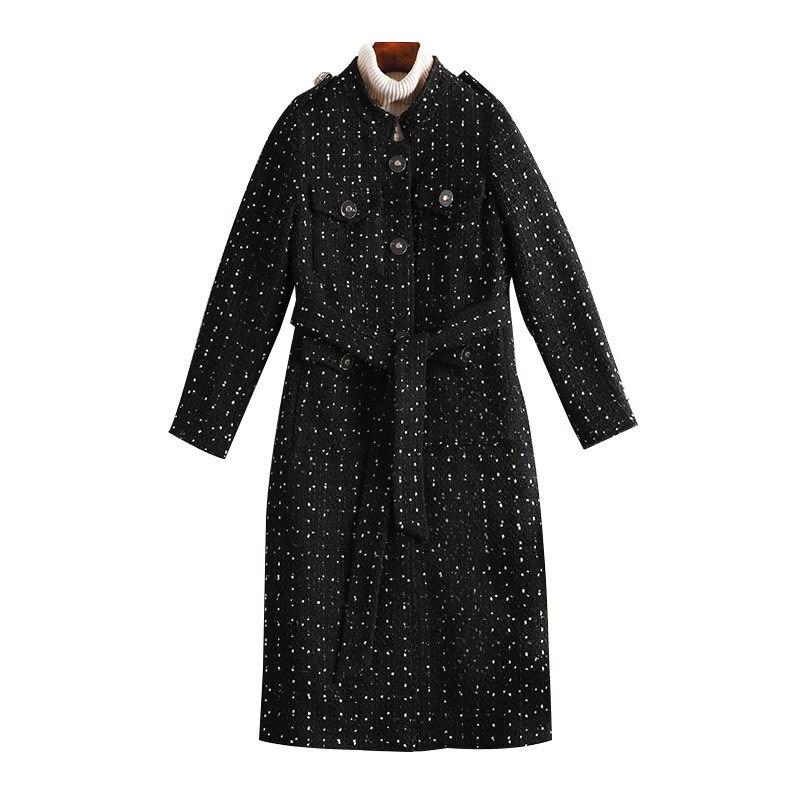 Femmes Montant De Longue Manches Corps Vêtements Manteau Col Dot 5xl Section Tissu À Grande Mince Dames Laine Longues Taille En ATw144q