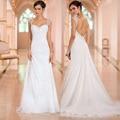 Vestido De Noiva New Arrival Wedding Dress Chiffon Backless Spaghetti Straps Beading Simple Bride Dresses Robe De Mariage
