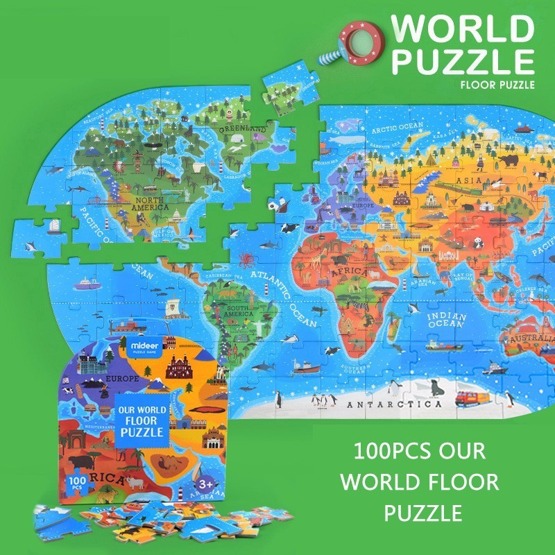 100 PCS Children's Cognitive Puzzle Map 40*76CM World Human Geography Map Gift Box Christmas Birthday Present For Kids