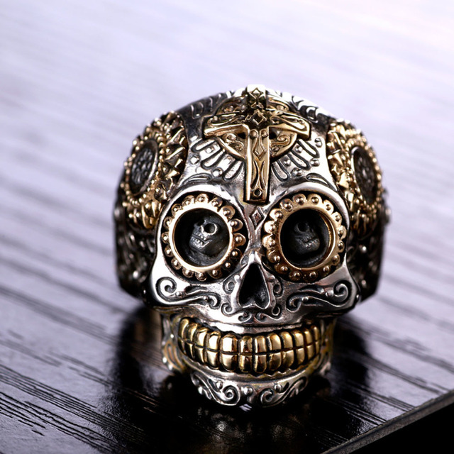 Solid 925 Sterling Silver Vintage Skull Ring 2