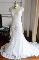 Vestido De Noiva Cheap Luxury Mermaid Wedding Dress Gowns Sexy V Neck Vintage Custom Made Lace