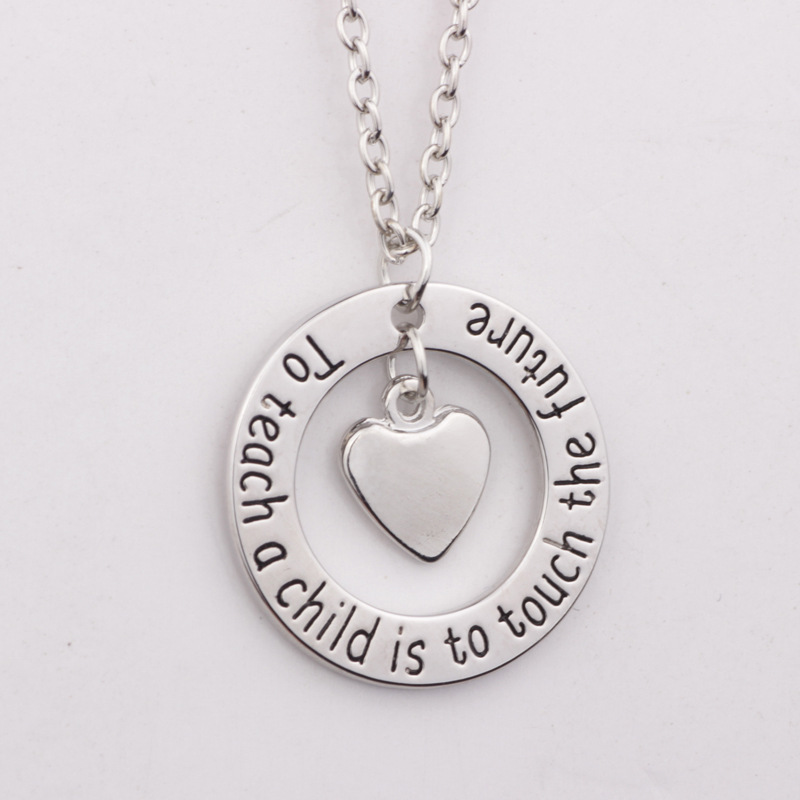 10PCS Letter To teach a child is to touch the future Necklace Inspirational Fashion Love Necklace Jewelry For Teacher Gift