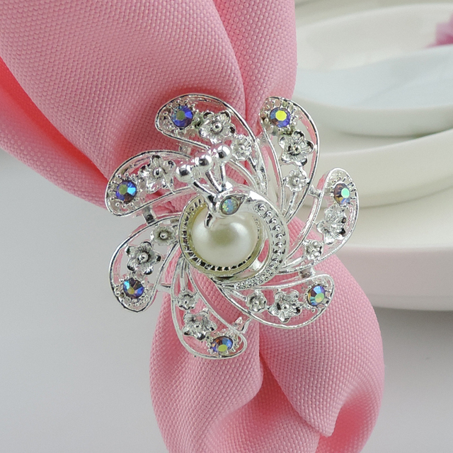 whosale wedding napkin rings pearls rhinestone flowers napkin rings hotel wedding supplies table decoration accessories - Wedding Napkin Rings