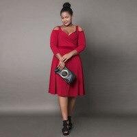 S FLAVOR Brand Women Big Size 6XL Dress Hot Sale Sexy Style Long Sleeve V Neck