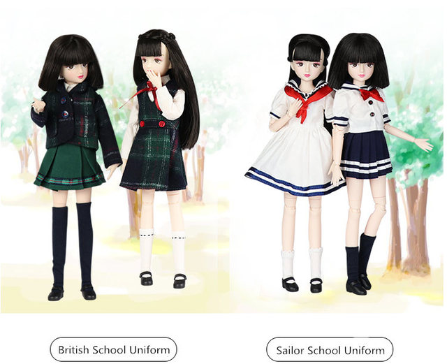 ICY Blyth doll New xiaojing doll student series joint body bjd black hair including school uniform shoes 25cm 4