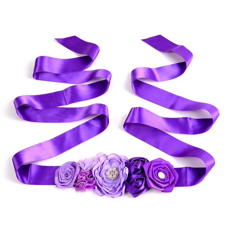 Rosa Himmel Blau Kinder Gürtel Mädchen Satin Strass Frauen Kinder Blume Gürtel Für Party Hochzeit Kleider Blume Mädchen Schärpe Hart Arbeitend Lila