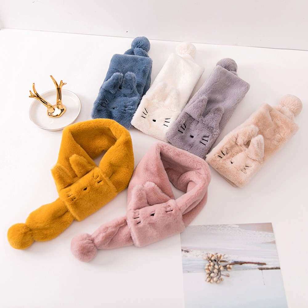 2019 New Brand Scarf For Children Kids Boys And Girls Velvet Cartoon Cat Keep Warm Wraps Scarf Scarves Baby Girls Winter Scarf
