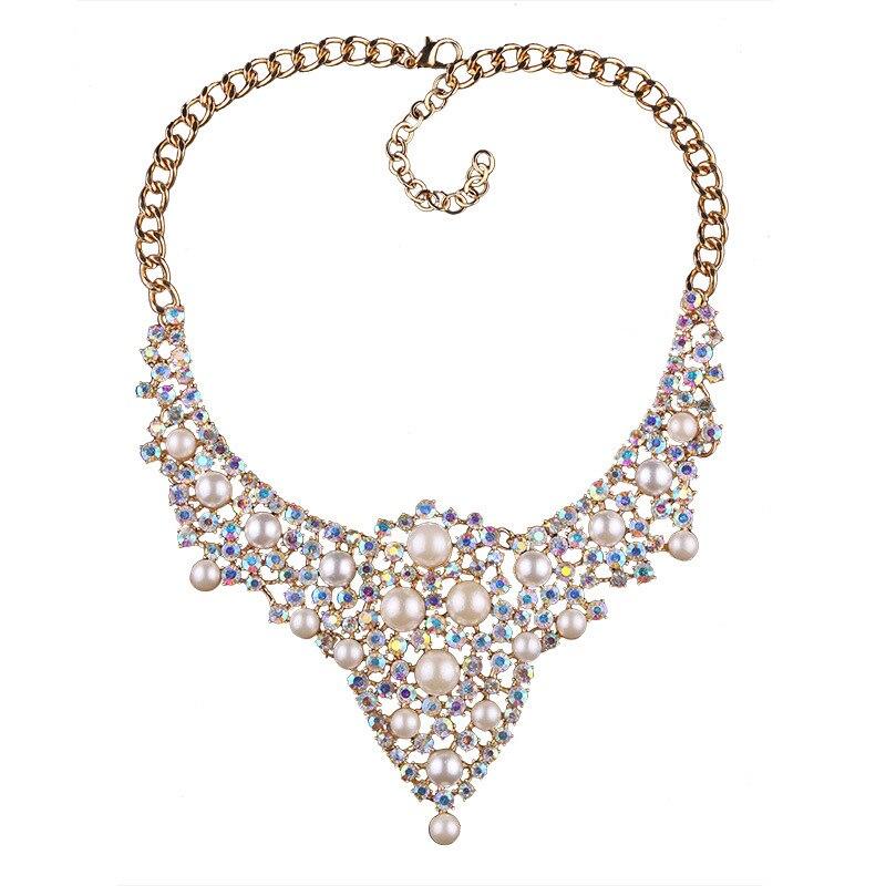 Fashion Vintage Hollow Bead Necklace Pendant Rhinestones Pearl Statement Necklace Women Party Gift Collares grandes de moda 2017