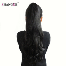 SHANGKE HAIR 24 '' Syntetisk Ponytail Wowen Wavy Claw Clip i PonyTail Hair Extension Värmebeständiga Fake Hair Pieces