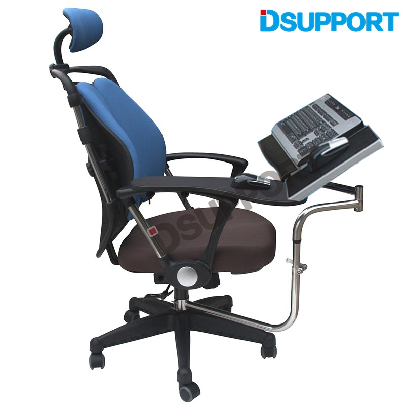 OK010S Multifunctional Full Motion Chair Clamping Keyboard/Laptop Desk Holder+ Square Mouse Pad +Chair Arm Clamping Mouse Pad