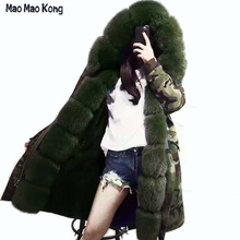 2017 winter jacket Large real fox fur collar long camouflage winter jacket women with luxury rex rabbit fur liner parka coat