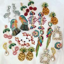 Boucles d'oreilles en forme d'oiseau et de poisson pour femmes, bijoux animaux, tendance, flamand rose, goutte d'eau, Vintage, vente en gros, 2021
