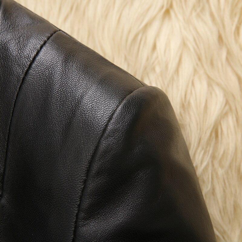 Automne Femmes Casual Court Mince Survêtement Z0059 Peau En Véritable Veste 2018 Nouveau Printemps Noir Mouton De Cuir Pour Manteau Vestes Oqa6t5n