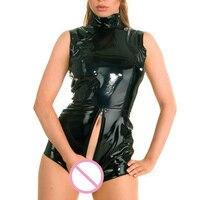 Sexy PVC Shiny Bodysuit U Crotch Faux Leather 2 Way Zipper Open Croth Body Suit Turtleneck Night Club Pole Dance Wear FX52