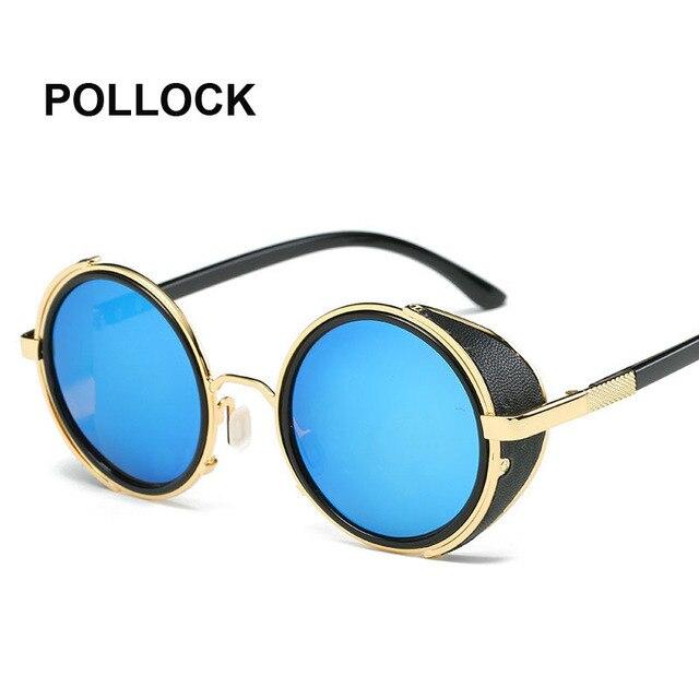 POLLOCK Rétro Vintage Lunettes lunettes Femmes Steam Punk lunettes de Soleil  Rondes femelle Cercle Lentille Ronde 9167dff2e559
