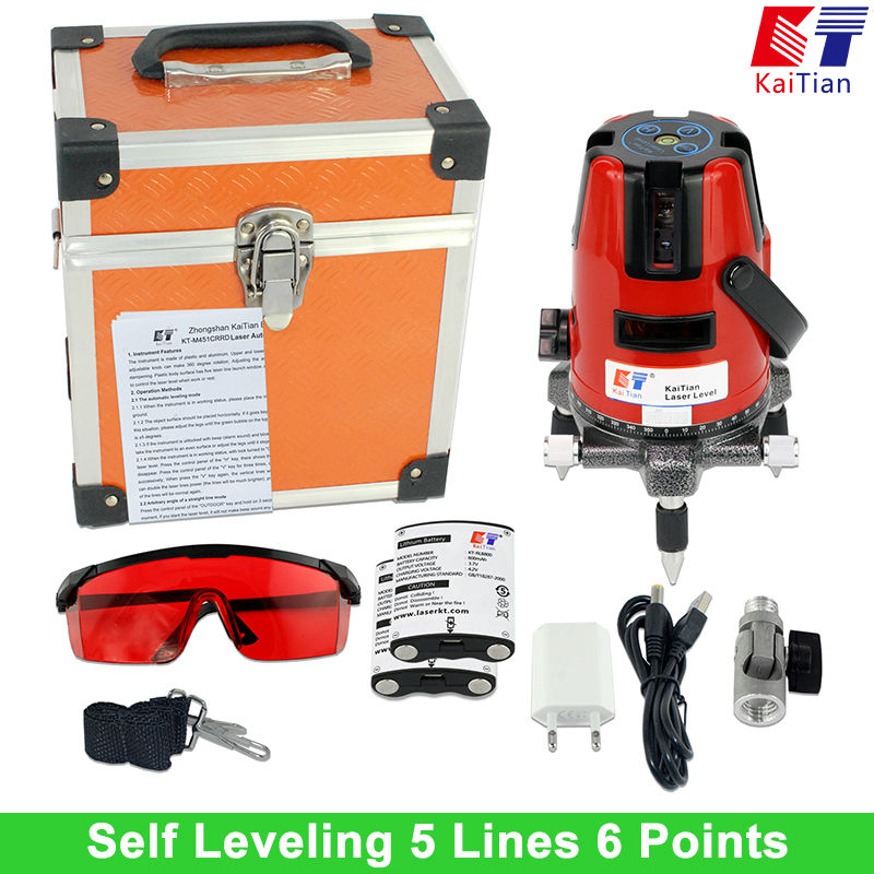 Kaitian Laser Level Self Leveling with Battery Tilt Function Outdoor Rotary 635nM 5 Lines 6 Points Vertical & Horizontal Lasers лазерный уровень kaitian 635nm 5 6 5 lines 6 points laser level