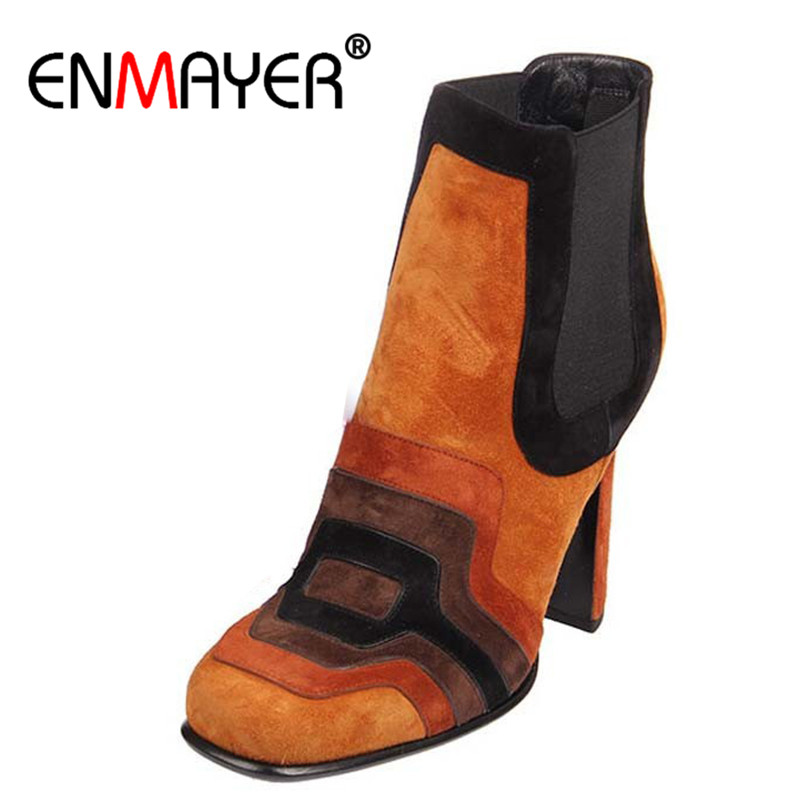 ENMAYER Genuine Leather Shoes Woman New Ankle Boots for Women High Heels Mised Colors Motorcycle Boots in Women's Boots Shoes enmayer new motorcycle boots for women sexy rivet shoes fashion martin boots genuine leather boots