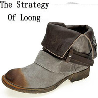 Spring Autumn Women Low Heels Metal Buckle Fashion Retro Nubuck Leather Ankle Boots Genuine Leather Vintage