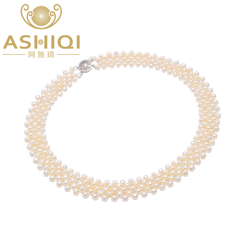ASHIQI Real Pearl choker Necklace for women white genuine Natural farming Freshwater pearls jewelry,BEST GIFT,Free shipping natural farming home