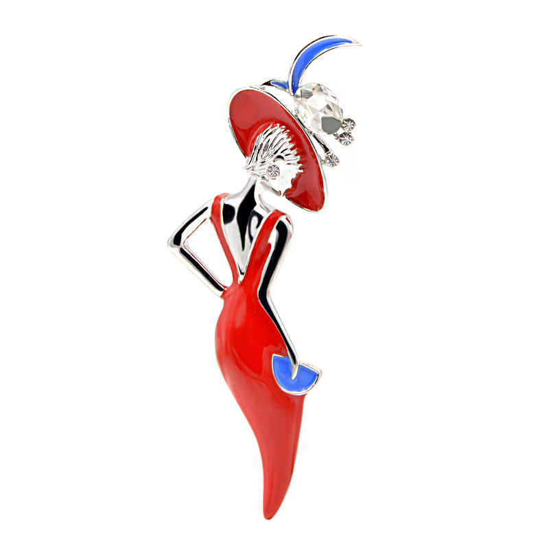 CINDY XIANG Wine Red Color Sexy Lady Brooch Enamel Pins Wear Big Hat Party Girl Fashion Jewelry Cute Brooches for Women New 2018