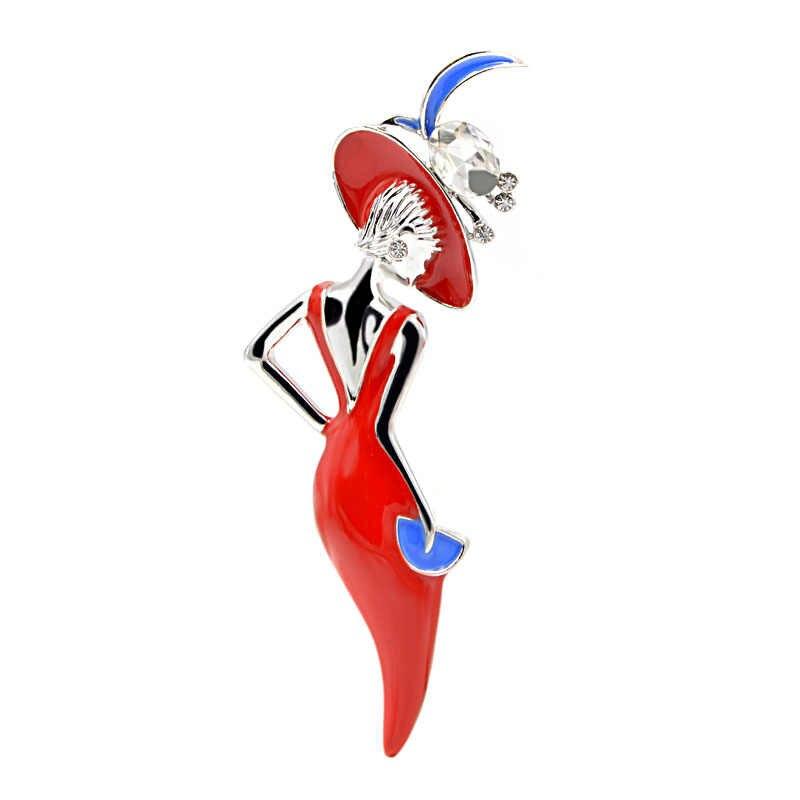 CINDY XIANG vin rouge couleur Sexy dame broche émail broches porter grand chapeau fête fille mode bijoux mignon broches pour les femmes nouveau 2018
