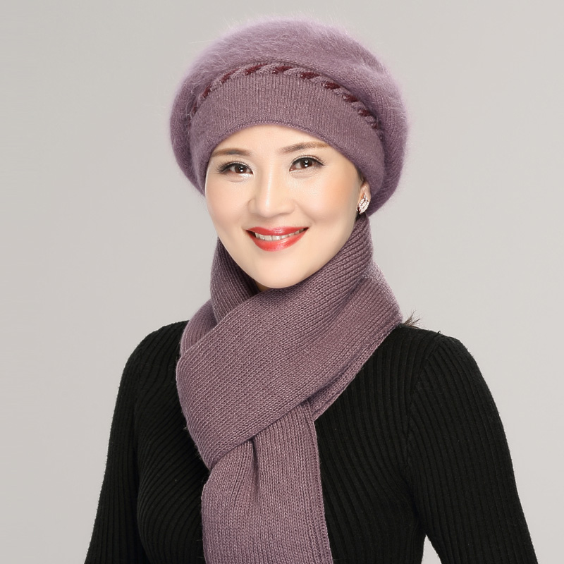 Middle-aged Female Rabbit Wool Hat Women Winter Warm Mother Grandmother Scarf Lady Elegant Fashion Fur Beanies Knit Hats H7153