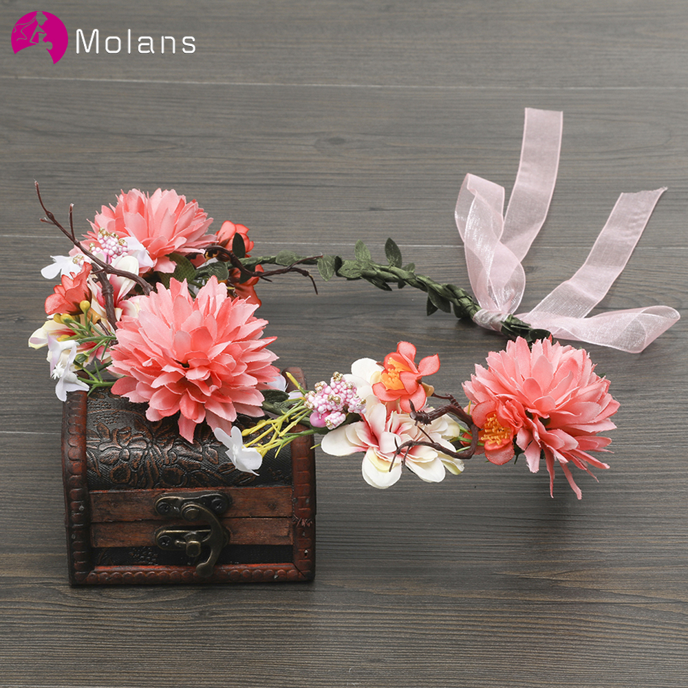 MOLANS Lovely Cute Flower Crown Stimulation Leaves Bow Ribbon Hairbands For Bride Handmade Woven Rattan Women Wedding Headpiece