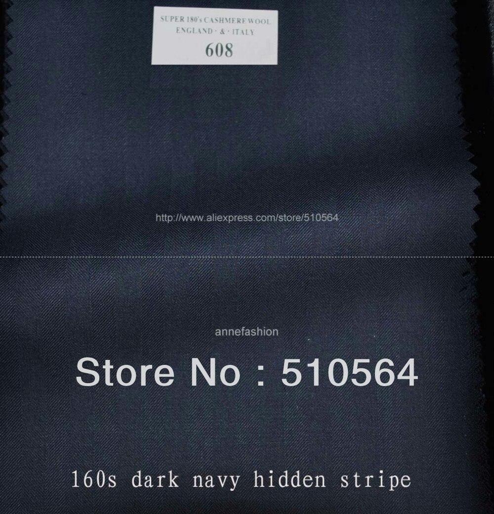Stripe Suit Vest Jacket Pant Custom-Made Three-Pieces 160s Wool Dark-Navy Hidden 100%Worsted