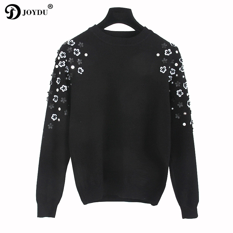 Runway Design Sweater Women 2017 Korean Fashion Knit Pullover Flower Beading Office Lady Winter Casual Jumper pull femme