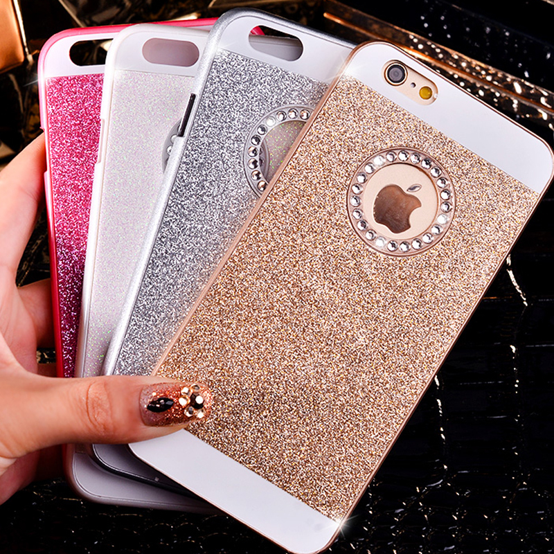191f12ebed Bling Glitter Powder Shining Hard PC Diamond Case For iphone 7 4s 5s SE 6s 7